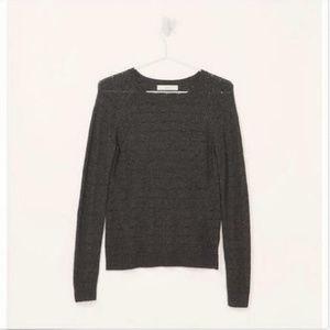 Loft Wavy Pointelle Long Sleeve Sweater XS Grey